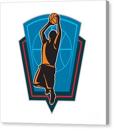 Basketball Player Rebounding Ball Shield Retro Canvas Print by Aloysius Patrimonio