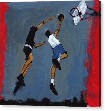 Scoring Canvas Print - Basketball Players by Paul Powis