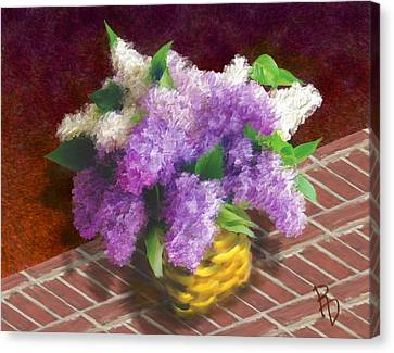 Basketful Of Lilacs Canvas Print by Ric Darrell