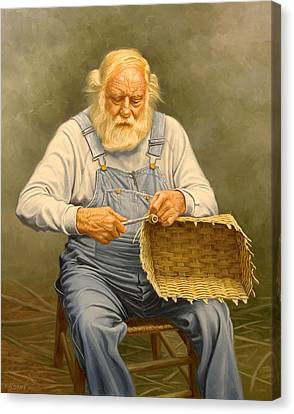 Basketmaker  In Oil Canvas Print by Paul Krapf