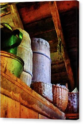 Canvas Print featuring the photograph Baskets And Barrels In Attic by Susan Savad