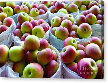 Canvas Print featuring the photograph Baskets Of Apples  by Sarah Mullin