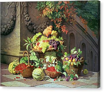 Baskets Of Summer Fruits Canvas Print by William Hammer