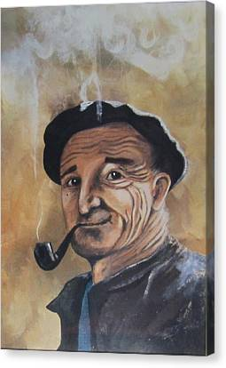 Canvas Print featuring the painting Basque Man With Pipe by Cathy Long