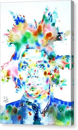 Basquiat Jean Michel Watercolor Portrait Canvas Print by Fabrizio Cassetta
