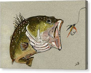 Bass Fish Fly Canvas Print by Juan  Bosco