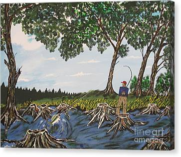 Bass Fishing In The Stumps Canvas Print by Jeffrey Koss