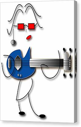 Canvas Print featuring the digital art Bass Guitar Girl by Marvin Blaine