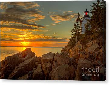 Bass Harbor Head Light At Sunset I Canvas Print by Clarence Holmes