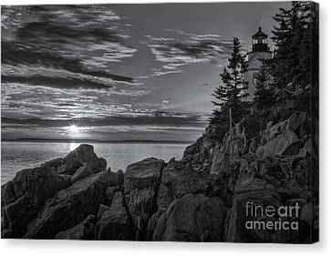 Bass Harbor Head Light At Sunset II Canvas Print by Clarence Holmes