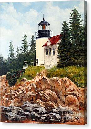 Canvas Print featuring the painting Bass Harbor Head Light by Lee Piper