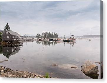 Bass Harbor In The Morning Fog Canvas Print by John M Bailey