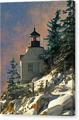 Bass Harbor Light In A Winter Storm Canvas Print by Brent Ander