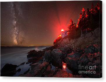 Bass Harbor Lighthouse Milky Way Canvas Print by Michael Ver Sprill