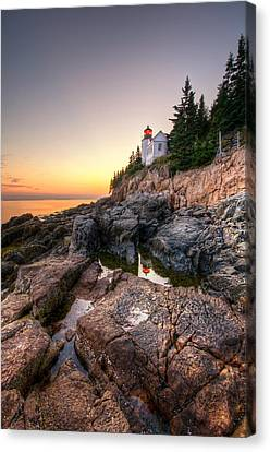 Bass Harbor Lighthouse Reflected In Tidal Pool - Portrait Canvas Print by At Lands End Photography