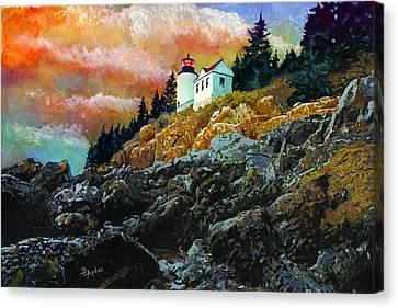 Bass Harbor Lighthouse Sunset Canvas Print by Brent Ander
