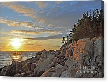 Canvas Print featuring the photograph Bass Harbor Lighthouse Sunset Landscape by Glenn Gordon