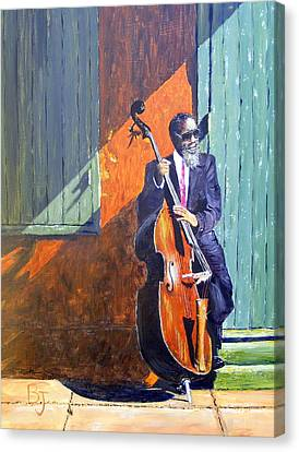 Bass Player In New Orleans Canvas Print by Barbara Jacquin
