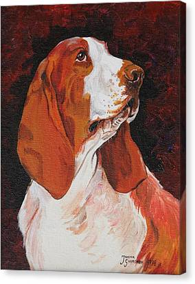 Basset Called Mary Canvas Print by Janina  Suuronen