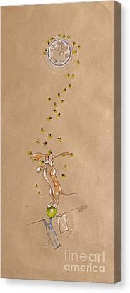 Basset Hound And Fireflies Canvas Print by David Breeding