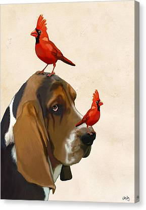 Basset Hound And Red Birds Canvas Print by Kelly McLaughlan