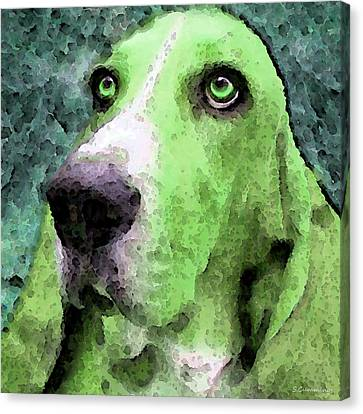 Basset Hound - Pop Art Green Canvas Print by Sharon Cummings