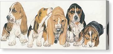 Basset Hound Puppies Canvas Print by Barbara Keith
