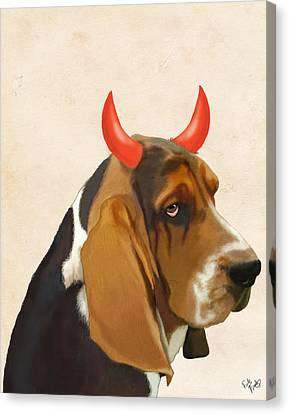 Basset Hound With Devil Horns Canvas Print by Kelly McLaughlan