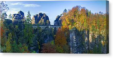 Bastei Bridge In The Elbe Sandstone Mountains Canvas Print