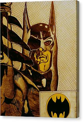 Canvas Print featuring the mixed media Bat Man by Dan Wagner