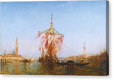 Bateau Pavoise Sur Le Bassin Canvas Print by Celestial Images