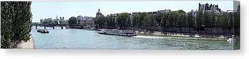 Bateaux Boat In A River, Seine River Canvas Print by Panoramic Images