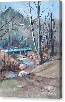 Walking The Greenway Canvas Print by Janet Felts