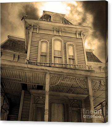 Bates Motel 5d28867 Square Sepia V2 Canvas Print by Wingsdomain Art and Photography