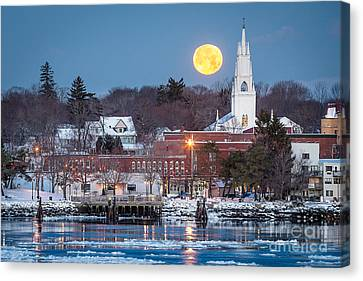 Bath Maine Moon Canvas Print