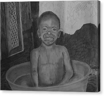 Bath-time Tears Canvas Print by Zilpa Van der Gragt