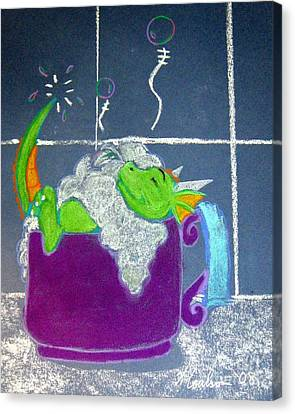 Canvas Print featuring the pastel Bath Time by Wendy Coulson