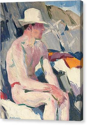 Bather In A White Hat Canvas Print by Francis Campbell Boileau Cadell