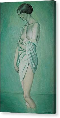 Bather In Profile Effect Of Green And Pink Canvas Print