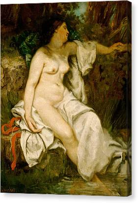Bather Sleeping By A Brook Canvas Print by Gustave Courbet