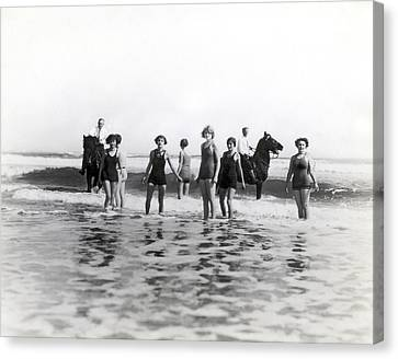 Medium Group Of People Canvas Print - Bathers And Horses In The Surf by Underwood & Underwood