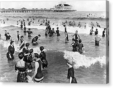 Bathers At Atlantic City Baech Canvas Print by Underwood & Underwood