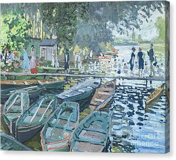 Bathers At La Grenouillere By Claude Monet Canvas Print by Roberto Morgenthaler
