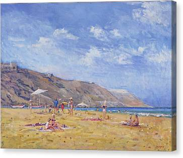 Sun Tan Canvas Print - Bathers, Gozo  by Christopher Glanville