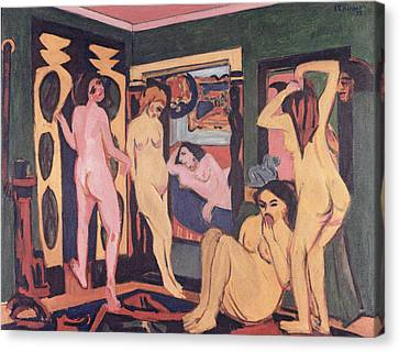 Bathers In A Room Canvas Print by Ernst Ludwig Kirchner