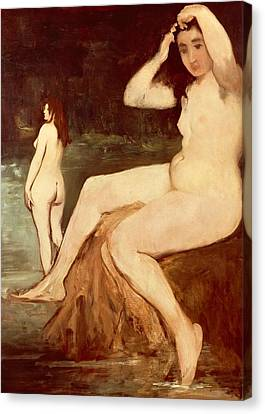 Bathers On Seine Canvas Print by Edouard Manet