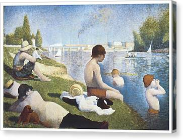 Bathing At Asnieres Canvas Print by George-Pierre Seurat