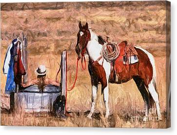 Bathing Cowgirl Canvas Print by Murphy Elliott