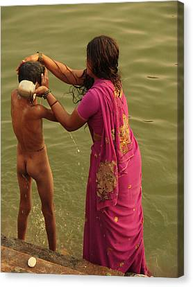 Bathing In The Holi Lake. Indian Collection Canvas Print by Jenny Rainbow