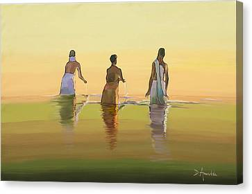 Ganges Canvas Print - Bathing In The Holy River 3 by Dominique Amendola